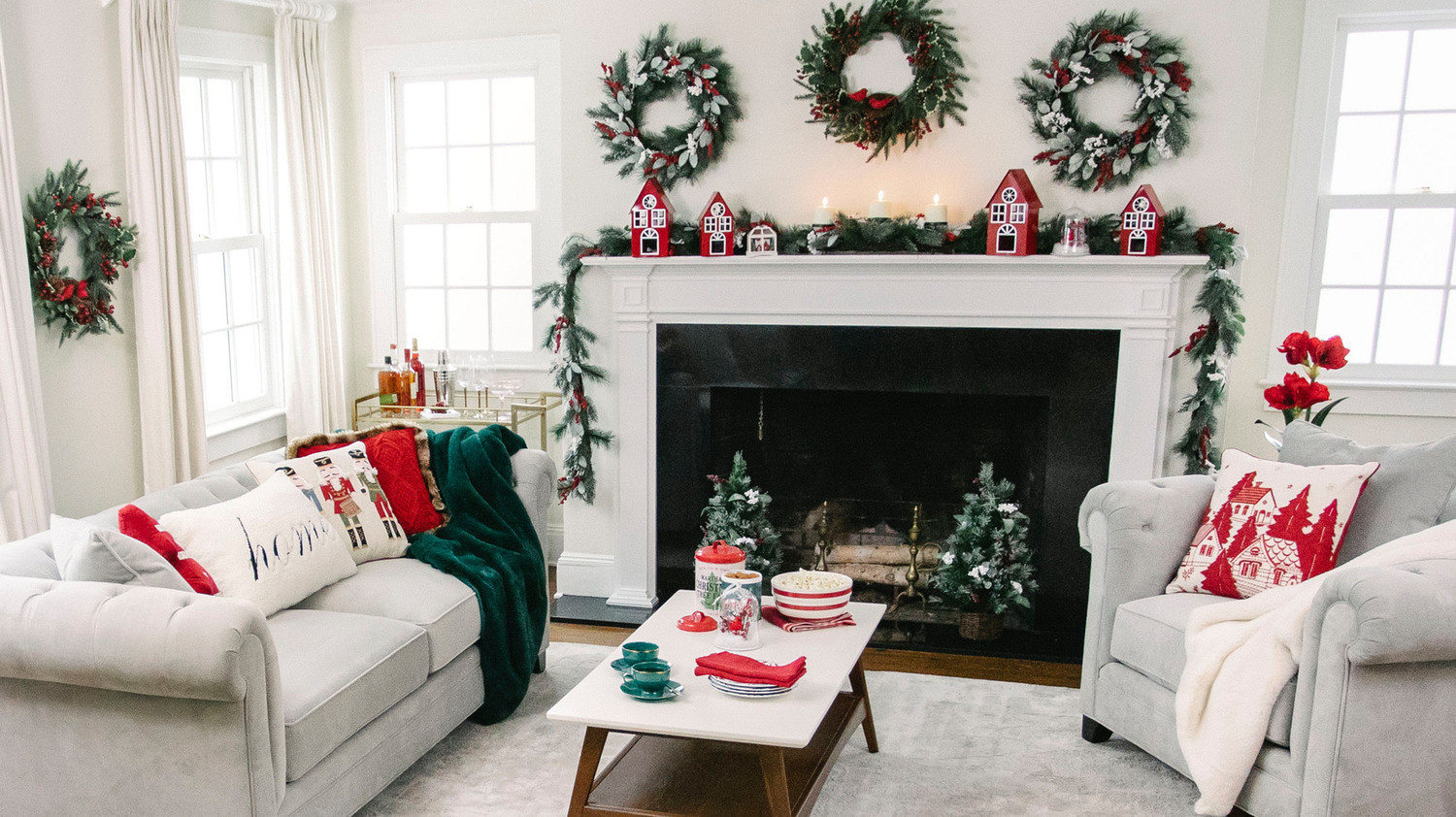 neutral-colored living room with holiday decor