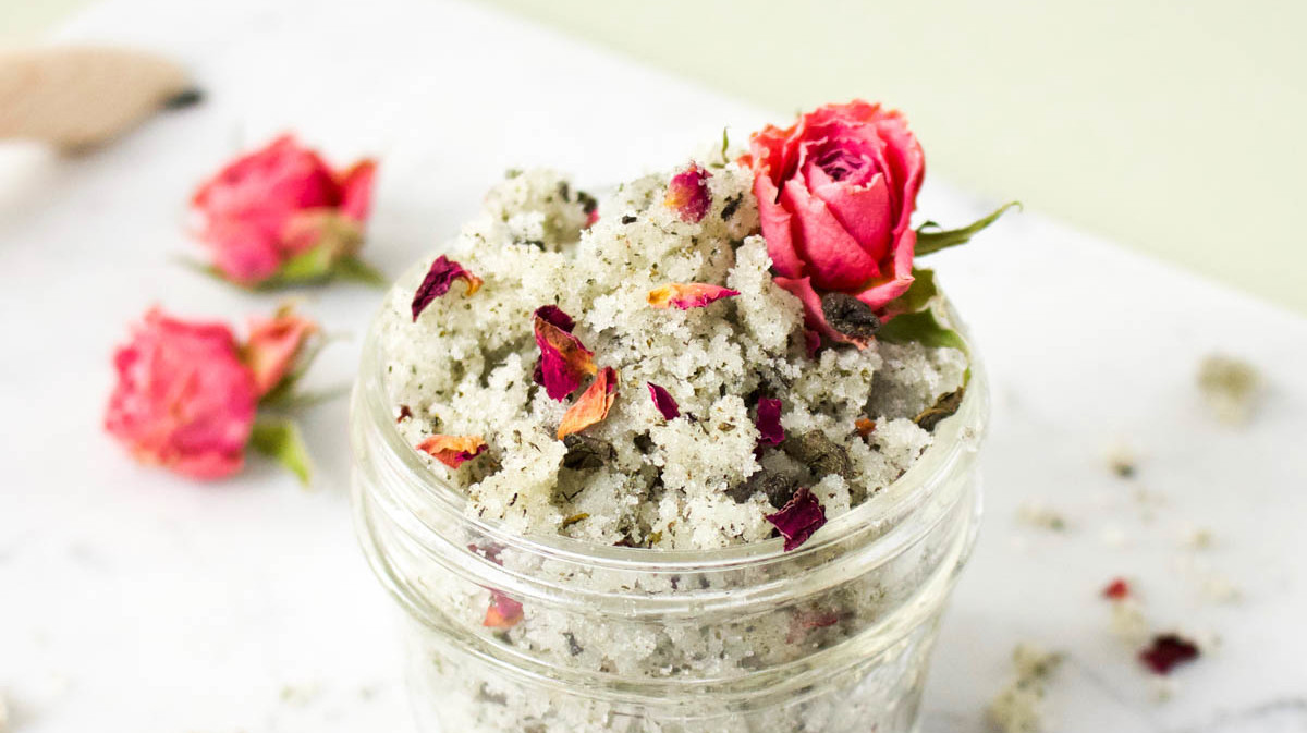 Green Tea and Rose Sugar Scrub