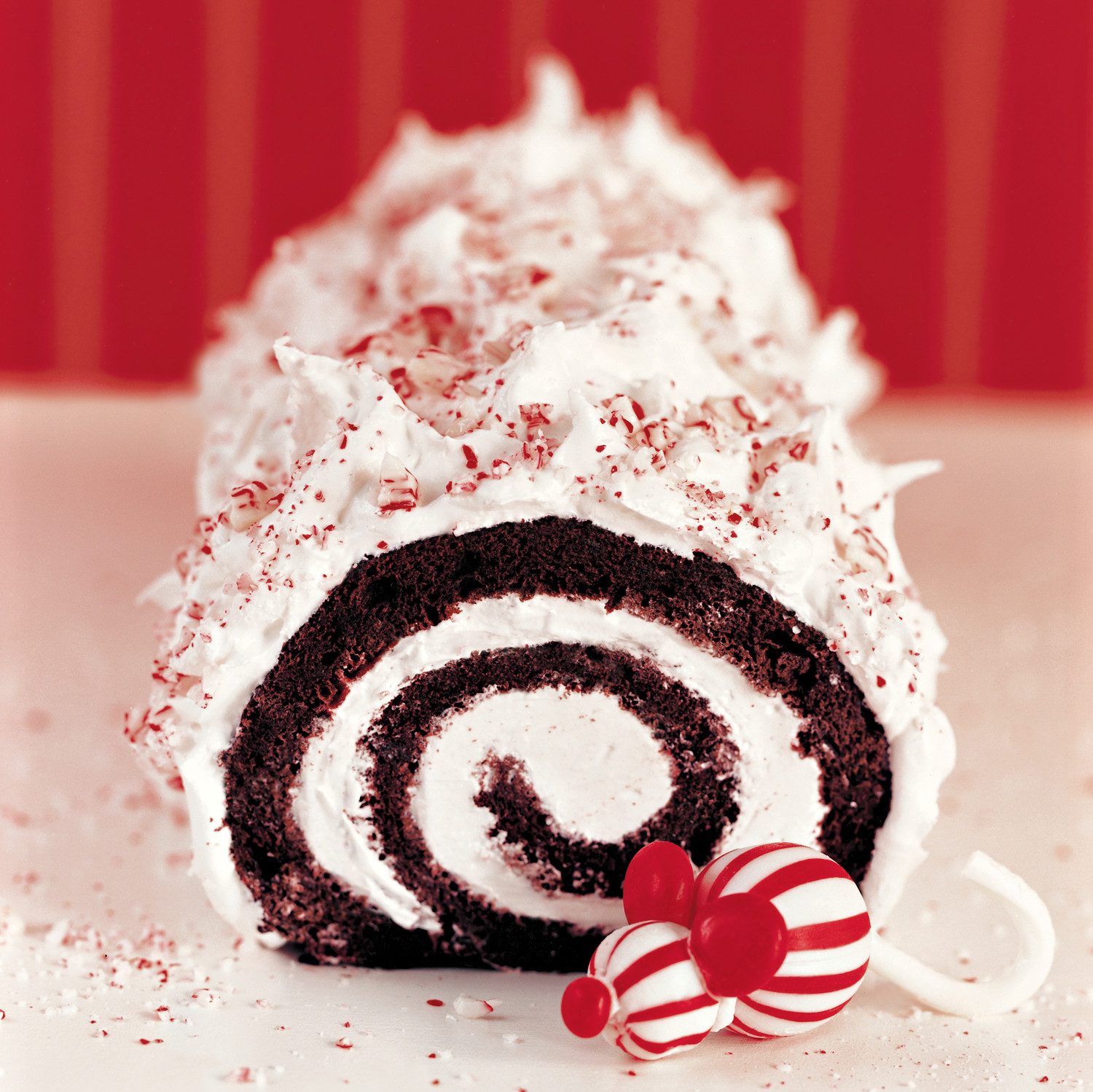 Christmas Yule Log Cake.Peppermint Yule Log