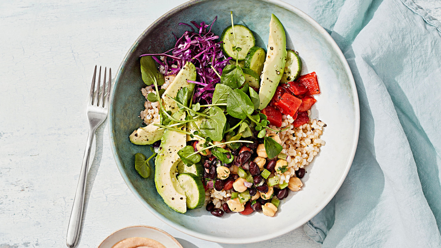 Rice And Bean Salad Bowl With Tahini Sauce
