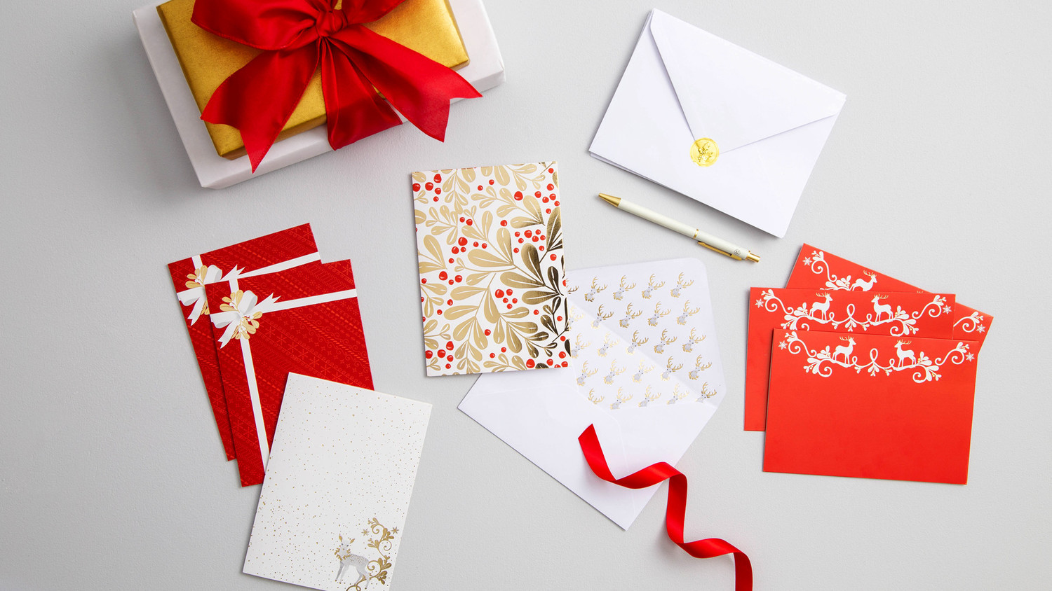 red and gold holiday stationary