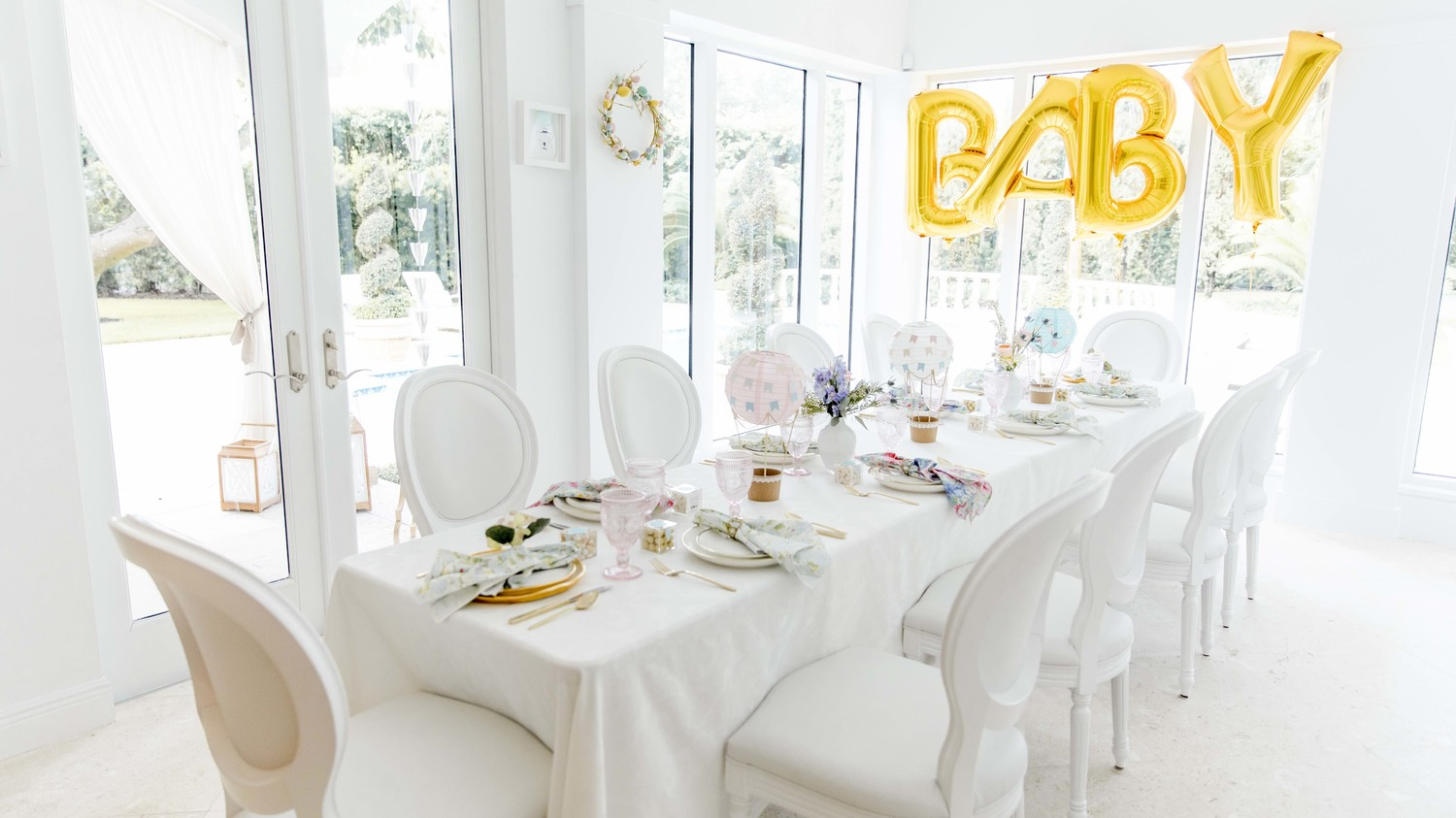 White Baby Shower Balloons