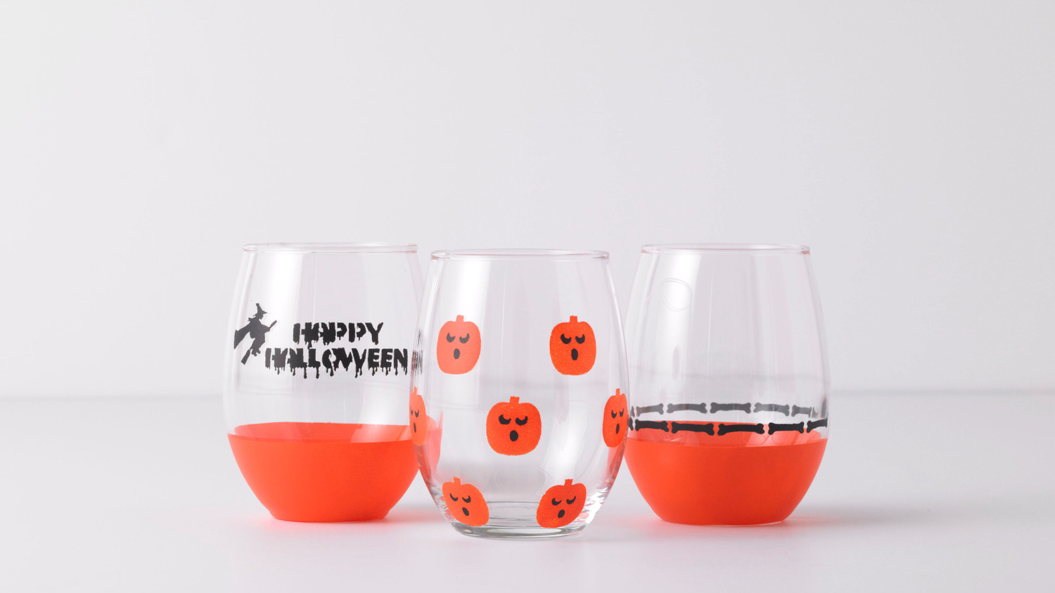 Stenciled Halloween Wine Glasses