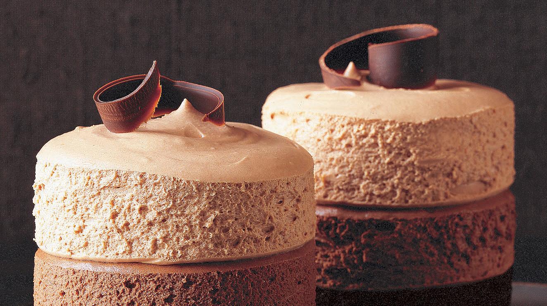 Triple chocolate-mocha mousse cake