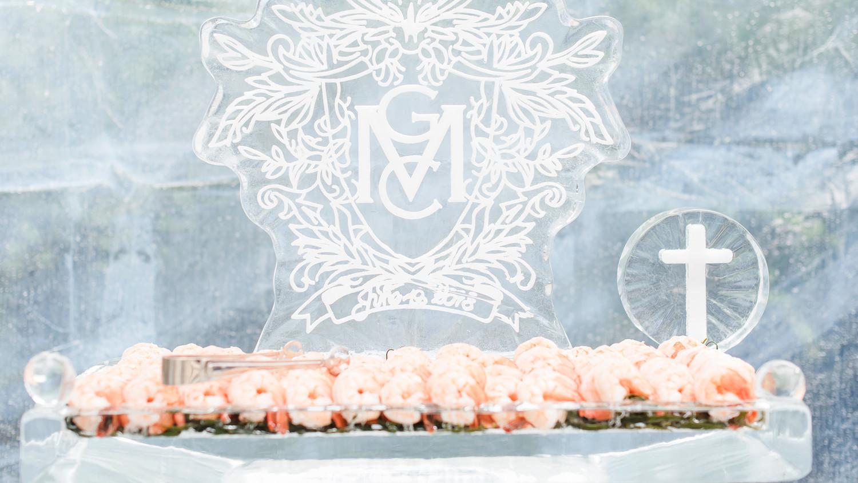 charitable baptism celebration ice monogram by shrimp tray