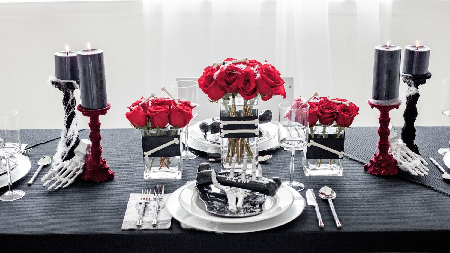 Rose-and-Bone Halloween Centerpiece