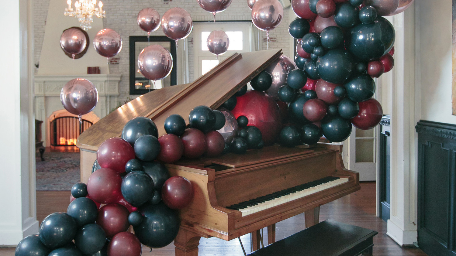 Haunted Piano with Balloon Garland