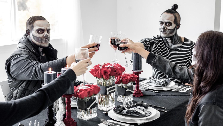 Halloween skeleton dinner party