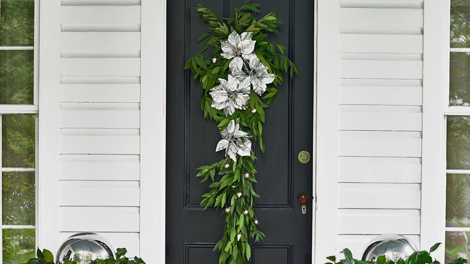 Laurel and Silver Poinsettias Decoration