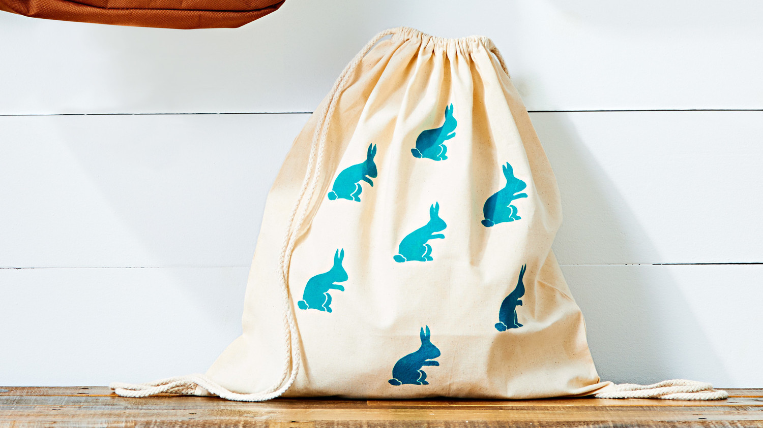 Animal-Stenciled Drawstring Backpack