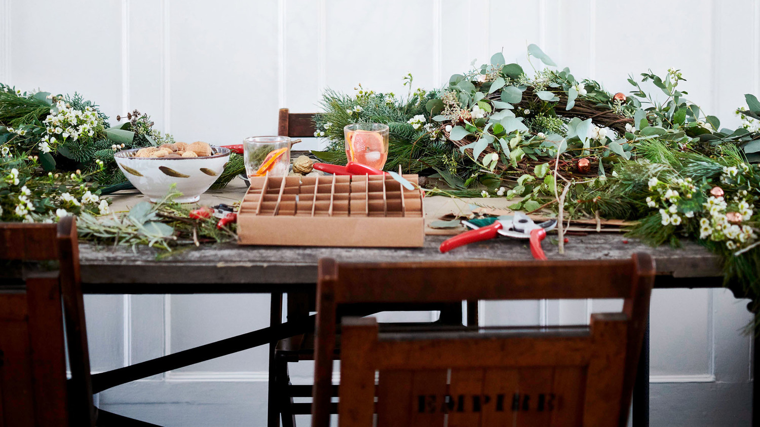 table of wreath-making supplies