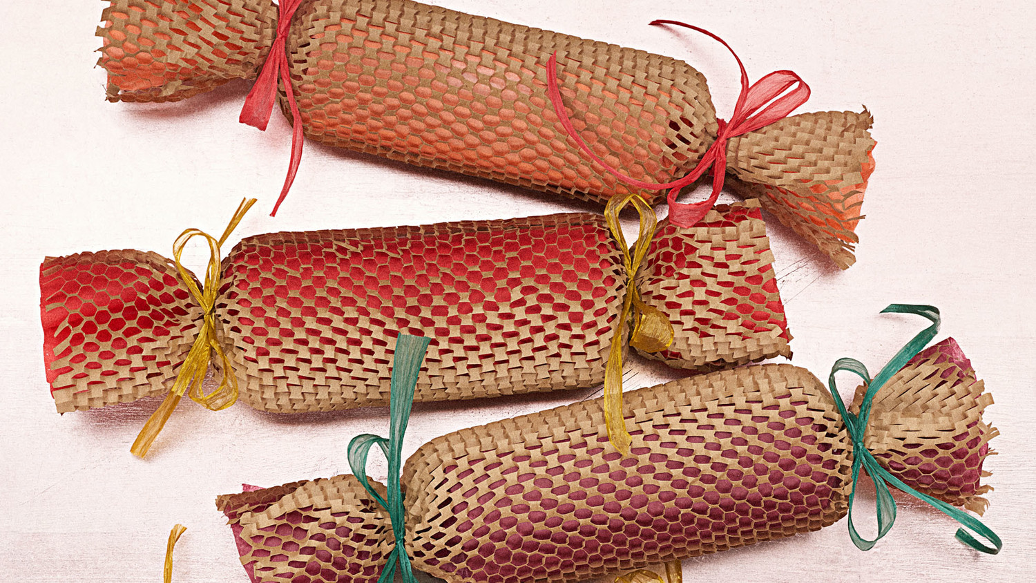 Brown Paper-Mesh Christmas Crackers