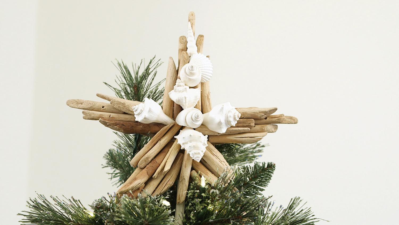 Driftwood-Seashell Star Tree Topper