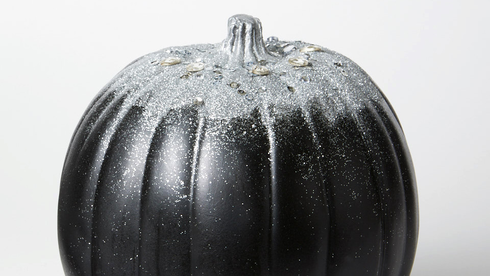 Glittered Crystal-Encrusted Pumpkin
