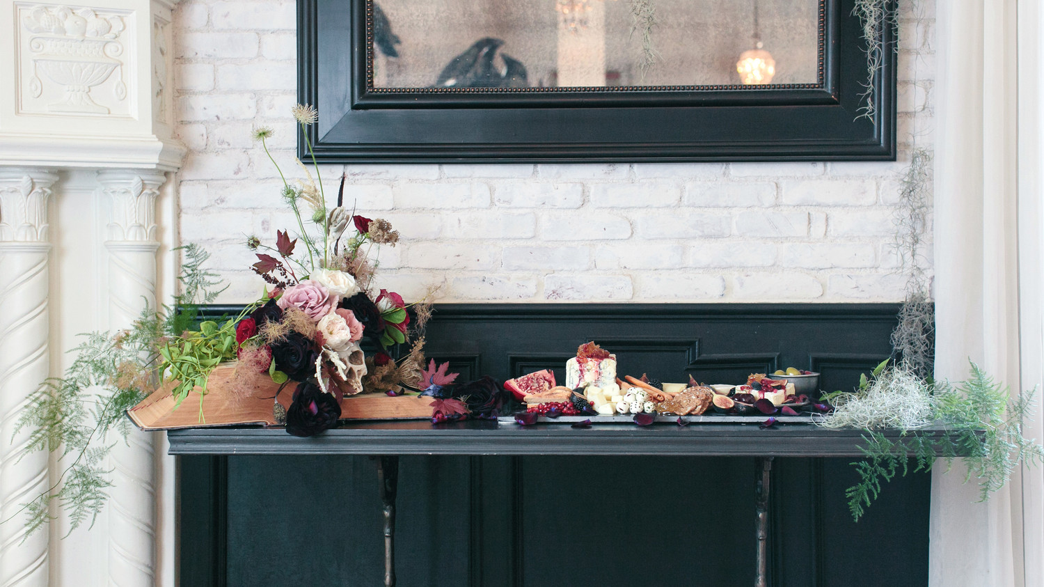 halloween rose gold dinner party food table