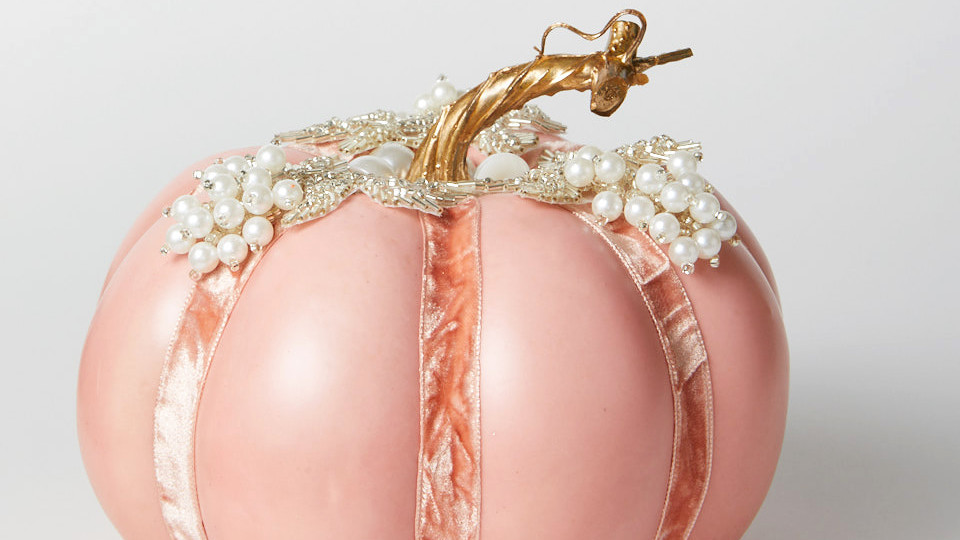 Pink Pumpkin with Pearls and Velvet