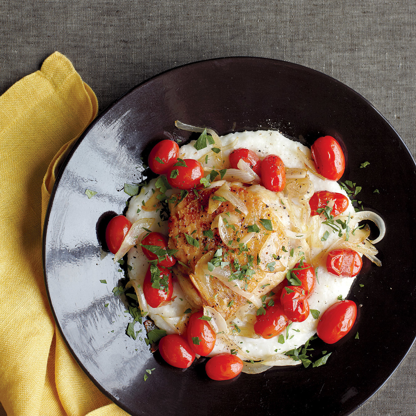 Chicken with Parmesan Grits and Tomatoes