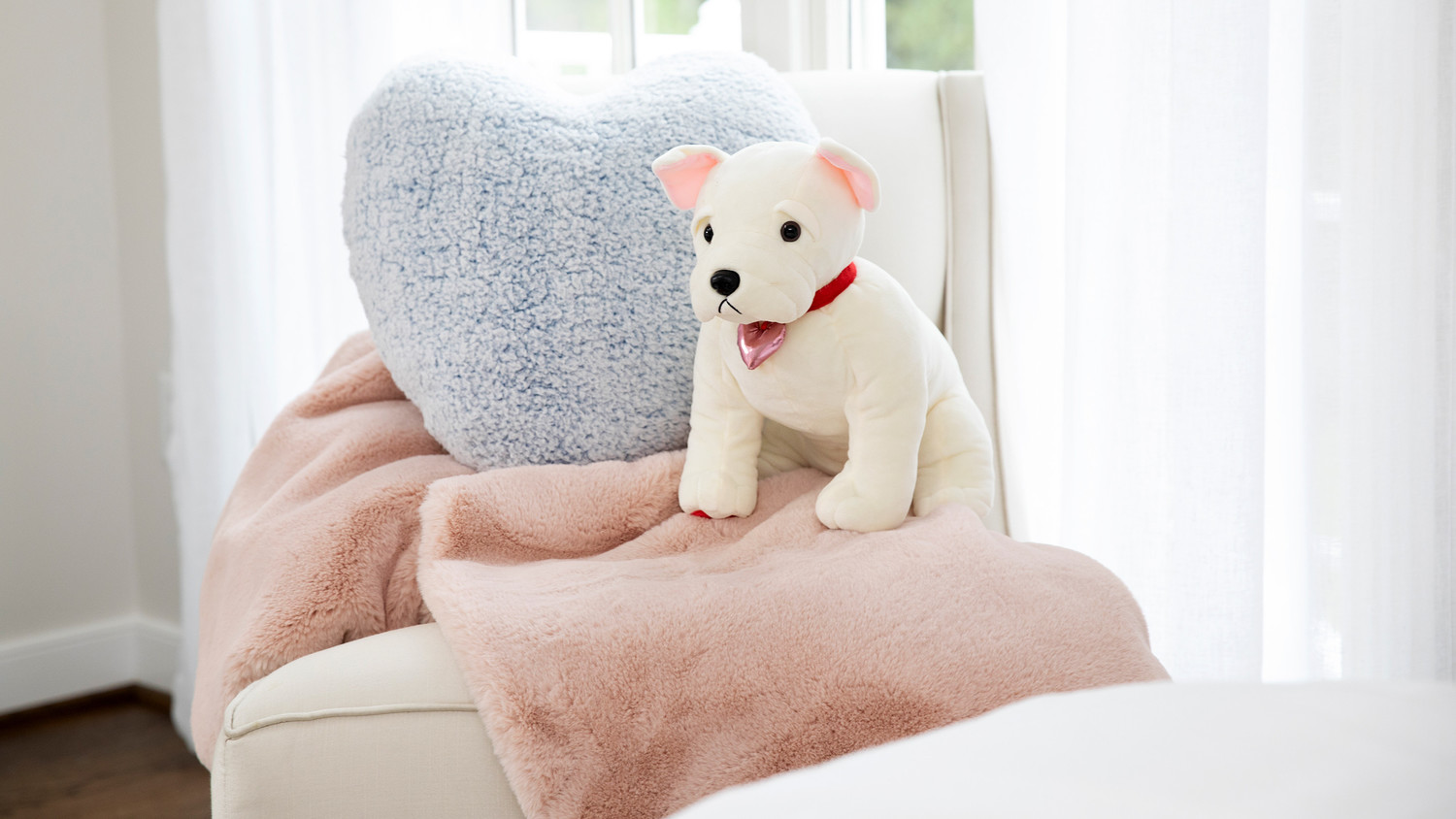 puppy stuffed animal with blanket and pillow valentine