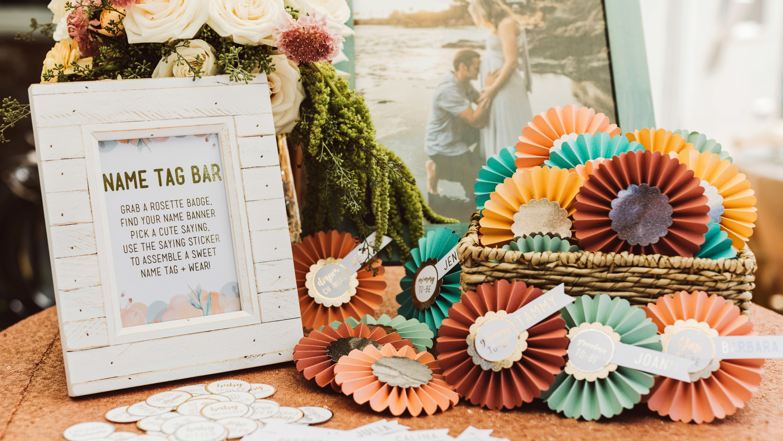 mint blush baby shower name tags pinwheels craft