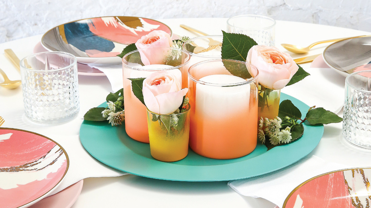 Spray-Painted Glass Candleholders