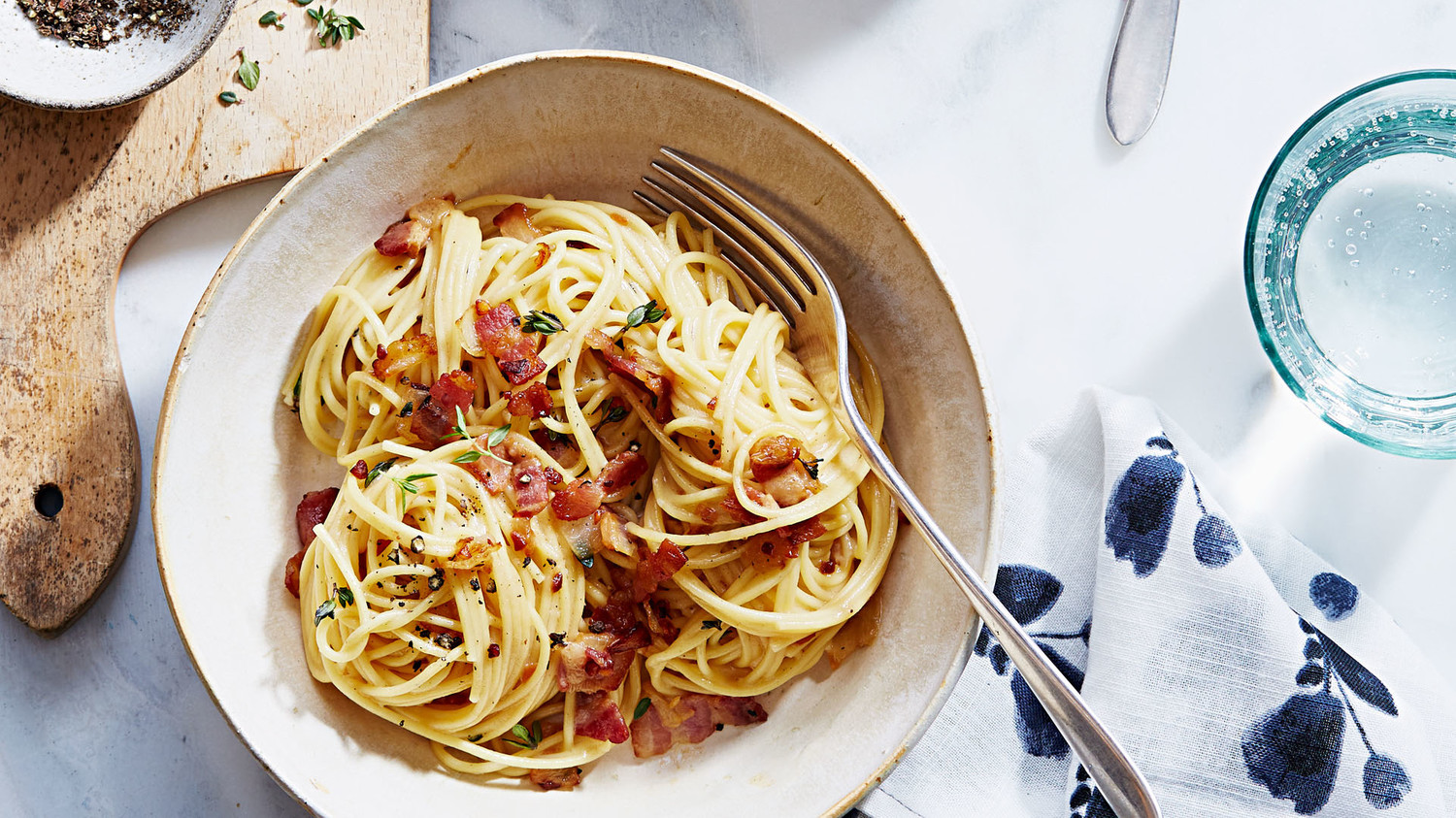 Bacon Pasta with Cheese Sauce and Thyme