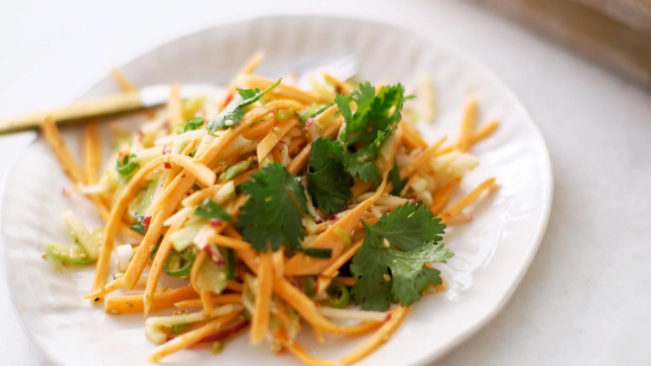 Crunchy Sweet Potato And Apple Julienne Salad Video