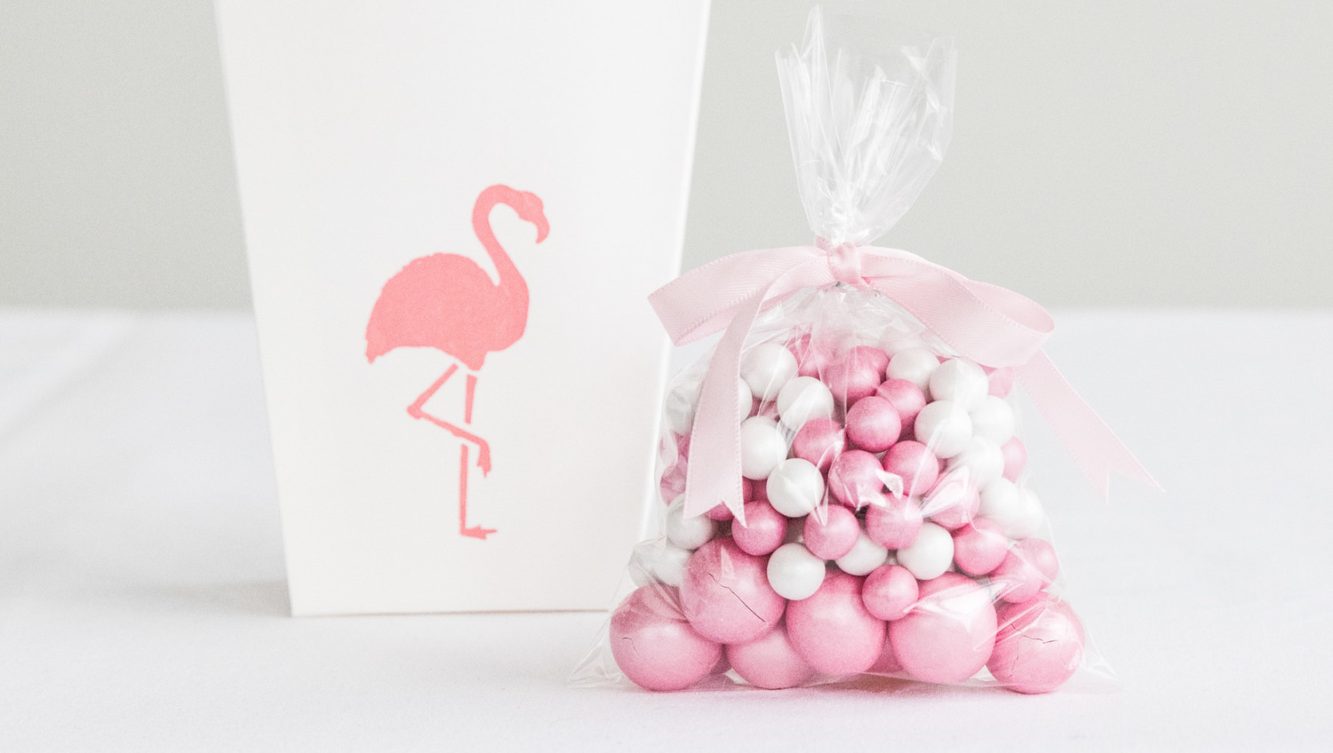 Flamingo Stenciled Party Favor Bags