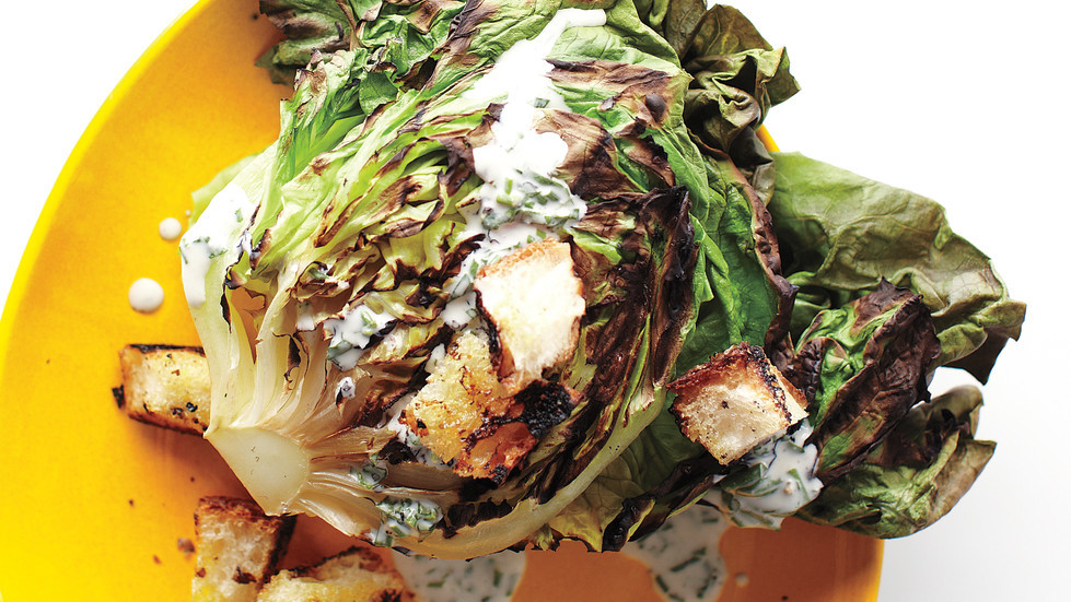 Grilled Butter Lettuce With Creamy Dressing