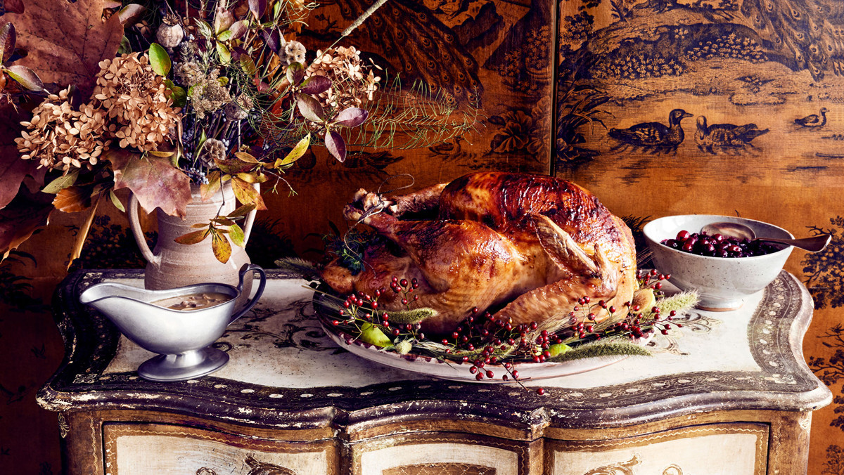 turkey and gravy on antique buffet table