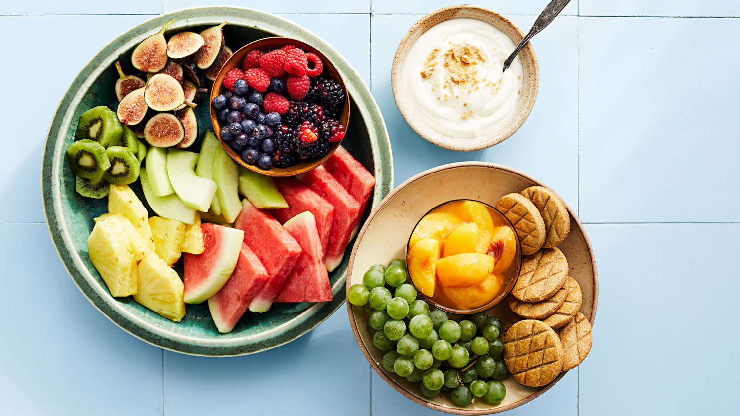 fruit platter with whipped ricotta
