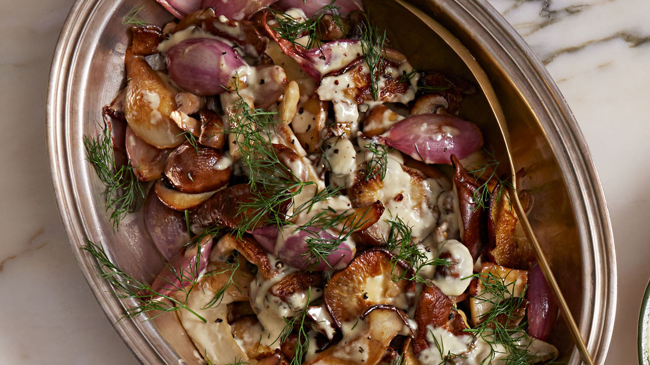 pan seared mushrooms with cream and dill - Christmas Salads Martha Stewart