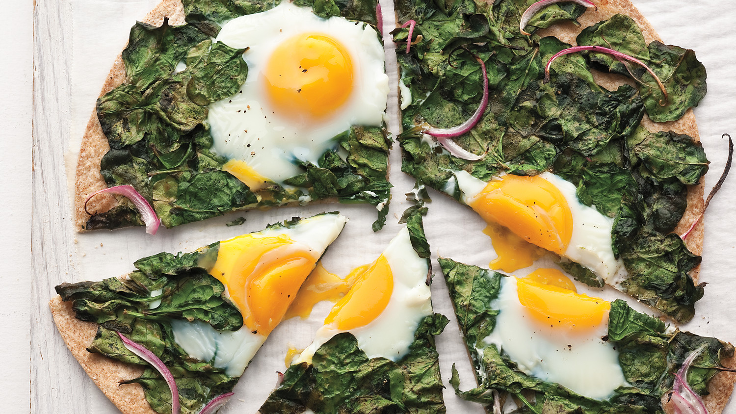 Sunny Side Up Egg And Baby Spinach Flatbread