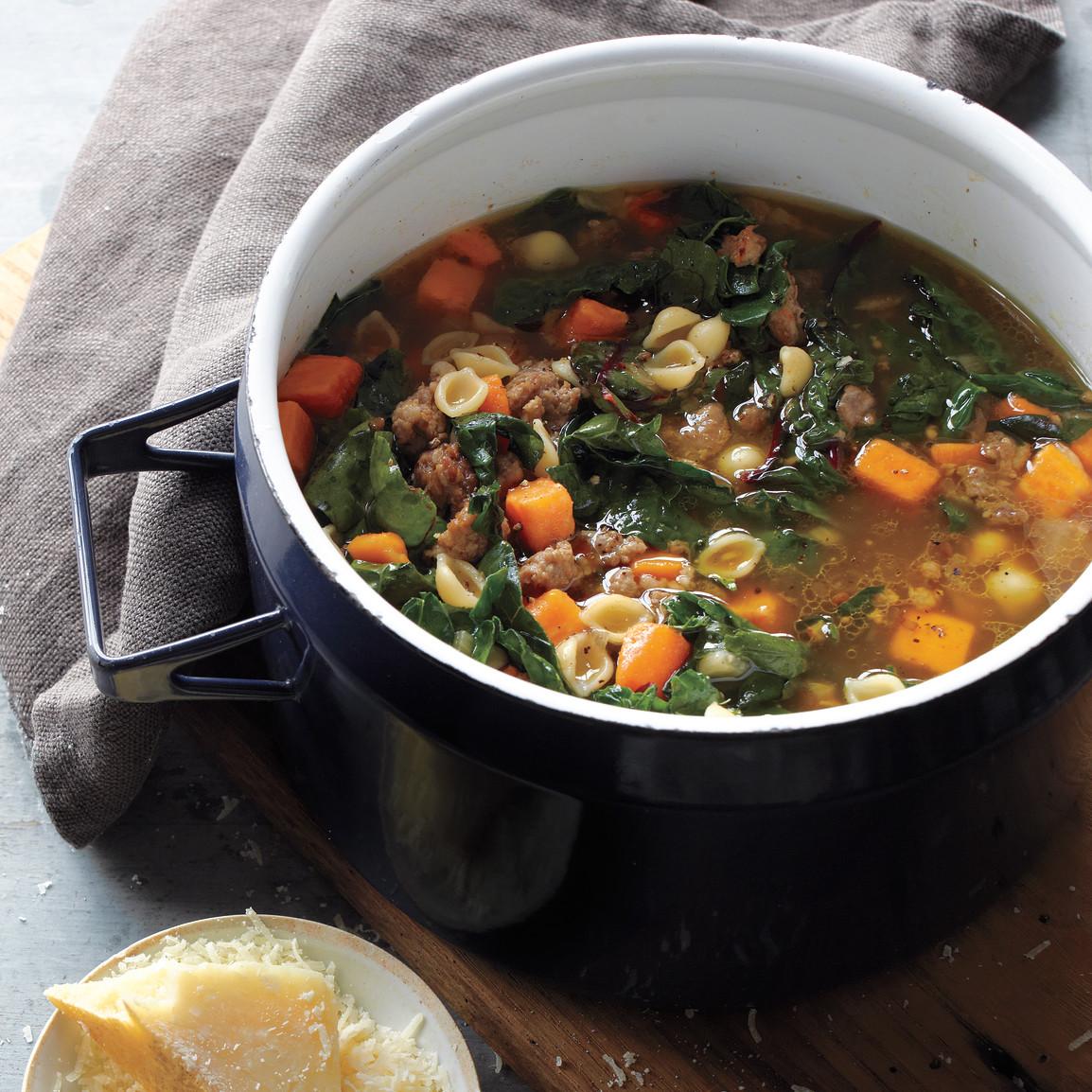 Sweet Potato-Sausage Soup Recipe & Video