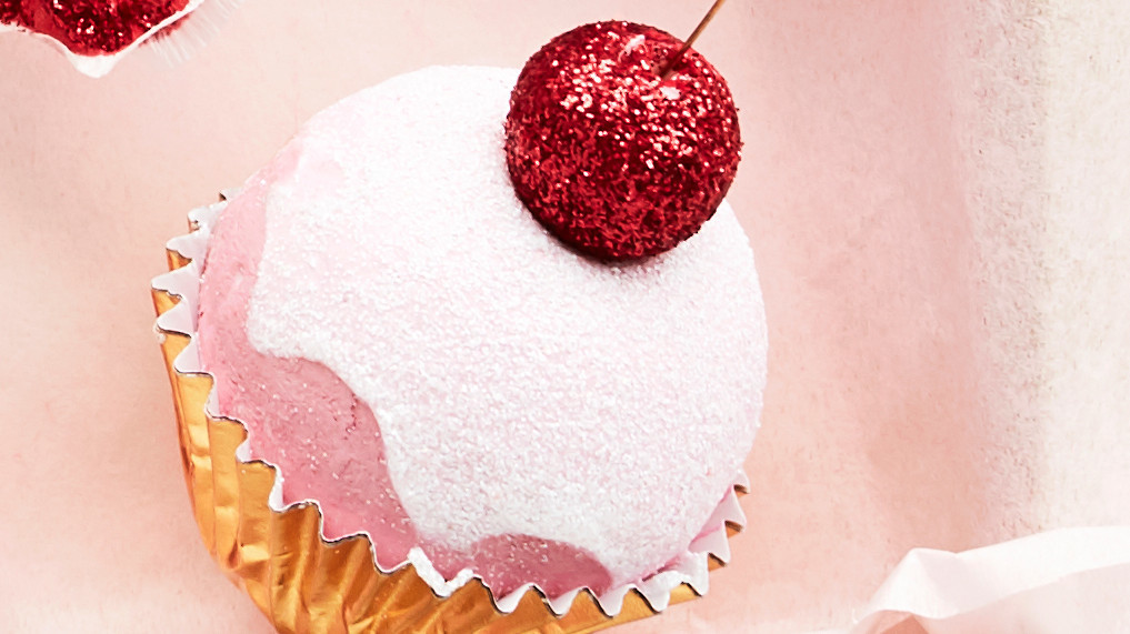 Glittered Spun-Cotton Cupcake Ornament