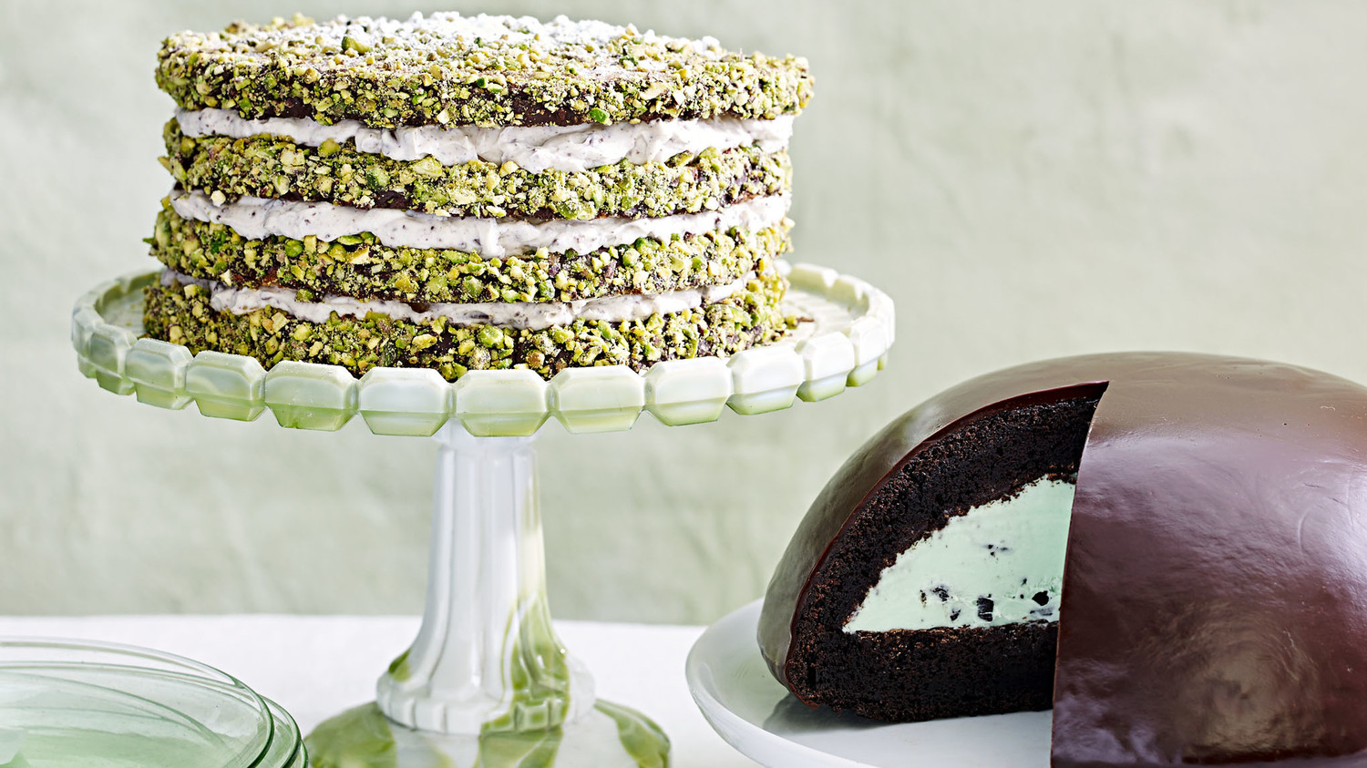 grasshopper ice cream and pistachio cannoli cakes