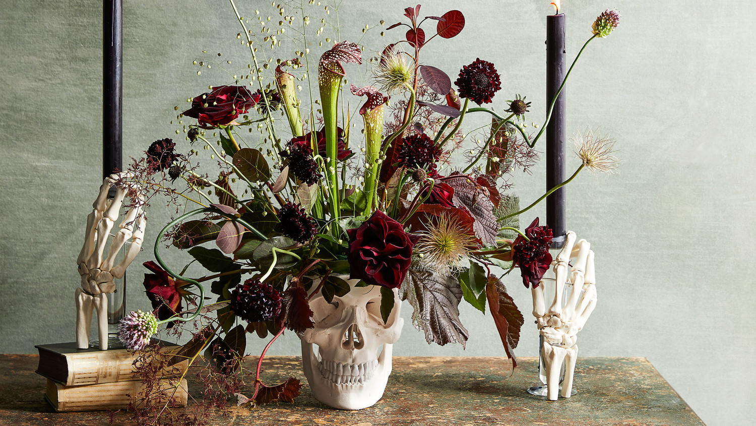 Floral Skull and Skeleton Hands Centerpiece