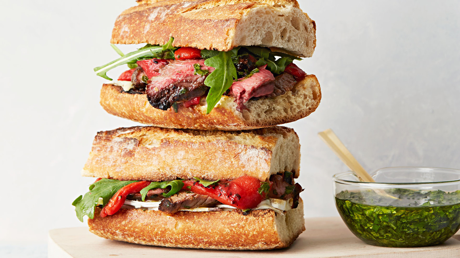 Steak And Brie Sandwich With Chimichurri