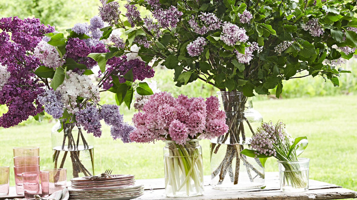 flower arrangement lilac hyacinth lily of the valley