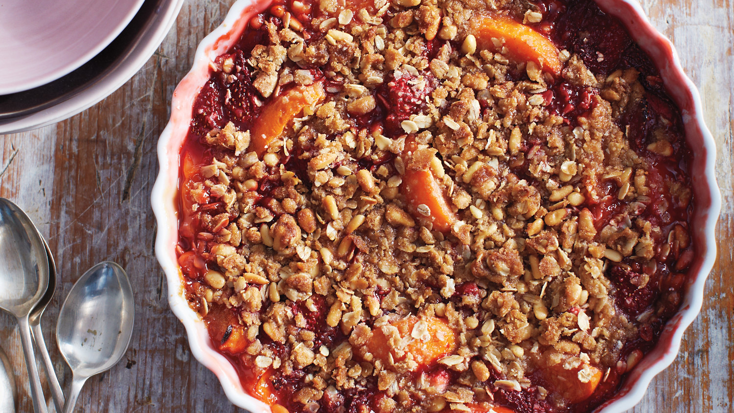 Strawberry And Apricot Crisp With Pine Nut Crumble Recipe
