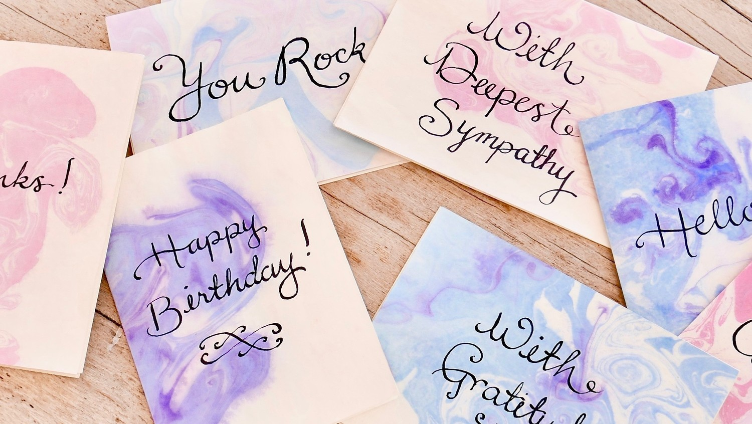 Marbleized Calligraphy-Ink Stationery