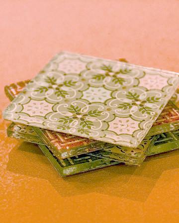 Wallpapered Glass Coasters | Martha Stewart