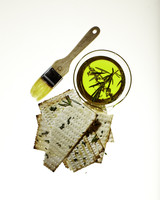 matzo with herb-infused olive oil