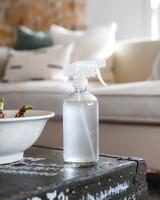 pet deodorizer in clear bottle