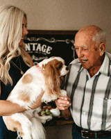 grandfather's 90th birthday with woman and dog