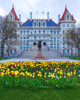 The state capitol in Albany, New York.