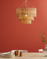 burnt orange wall paint in dining room