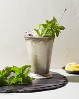 fresh mint julep in metal cup