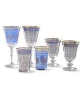blue mosaic glassware
