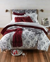 flannel red duvet black and white floral