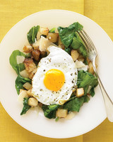 Warm Spinach Salad with Fried Egg and Potatoes Recipe